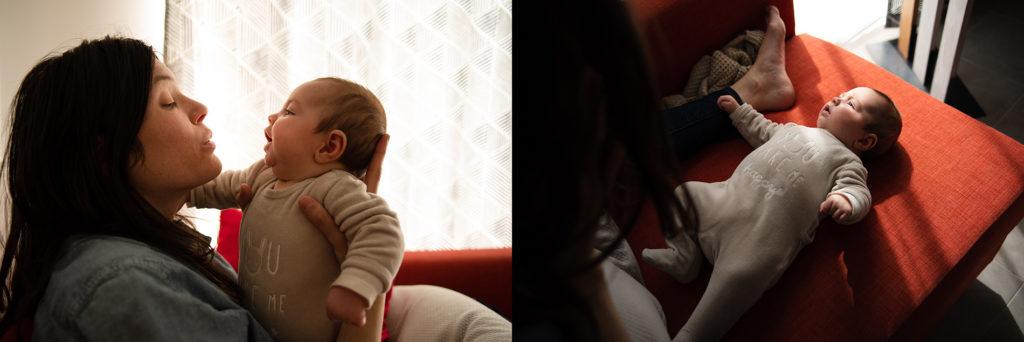 Reportage du quotidien près de Rennes. Montage de photos d'une maman communiquant avec son bébé.