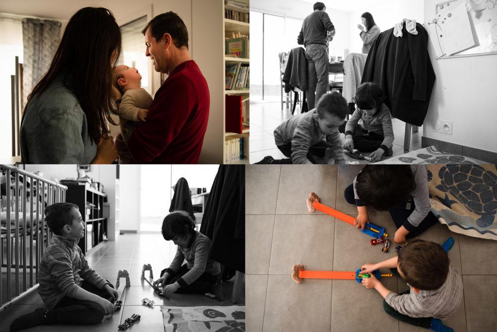Reportage du quotidien près de Rennes. Montage de 4 photos de moments en famille.