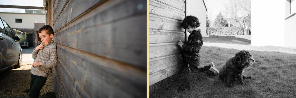 Reportage du quotidien près de Rennes. Montage de eux photos de portraits de jeunes enfants.