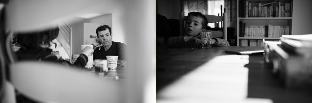 Reportage du quotidien près de Rennes. Montage de 2 photos de moments en famille.