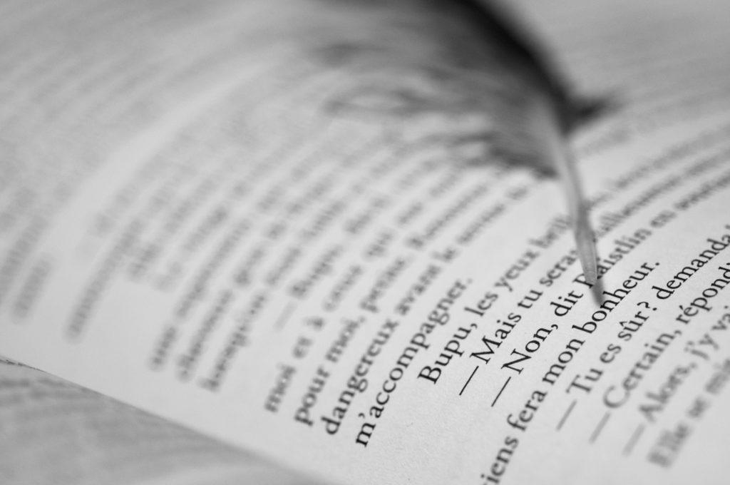 Ecrire et photographier : l'art de raconter des histoires. Photographie d'un livre ouvert avec une plume posée dessus.