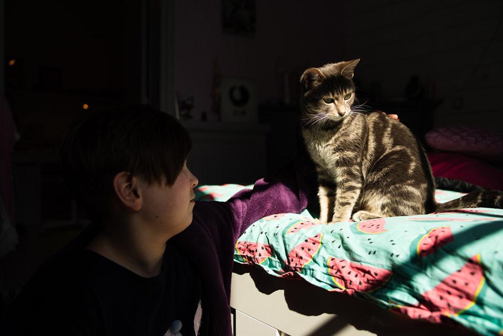 Mon projet photo 52. Portrait d'une jeune fille et d'un chat dans la lumière.