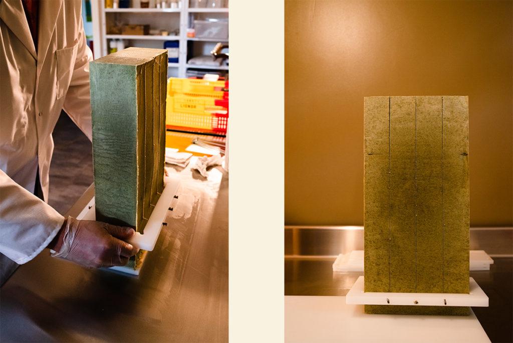 Reportage artisan en Mayenne, avec Sacé Nature. Partie 2. Montage de 2 photos : découpe d'un savon.