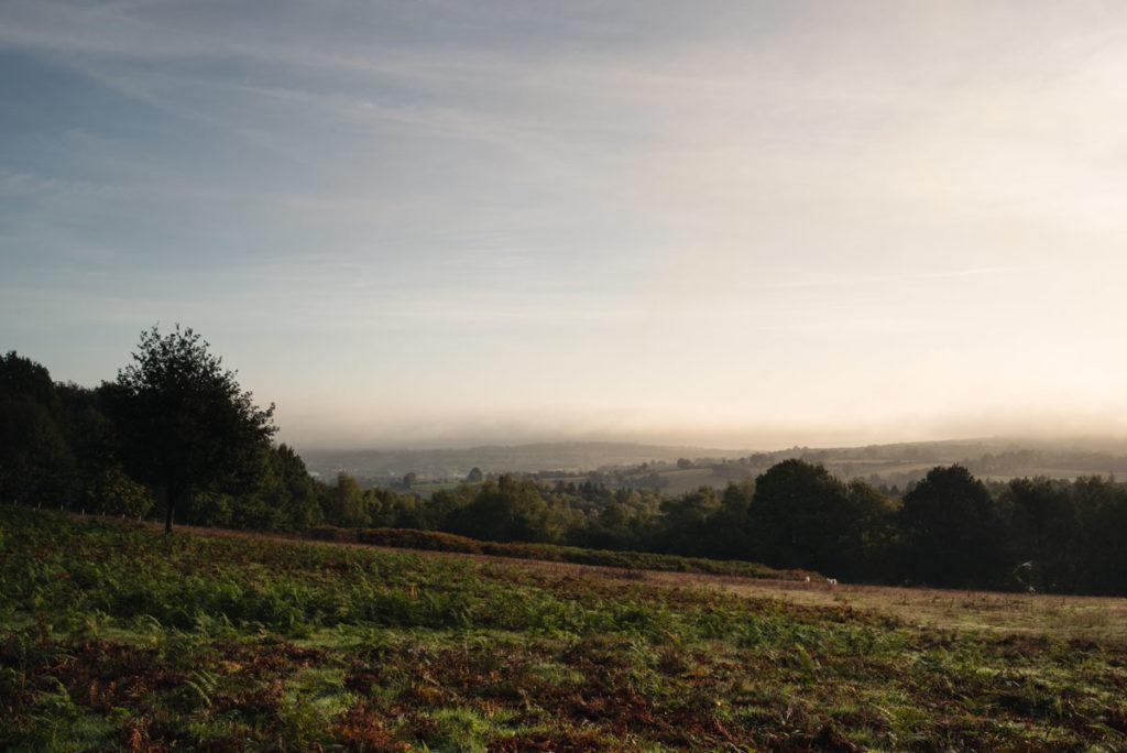 Sortie nature à la chapelle du Montaigu, en Mayenne. Paysage au petit matin depuis le site du Montaigu, en Mayenne.