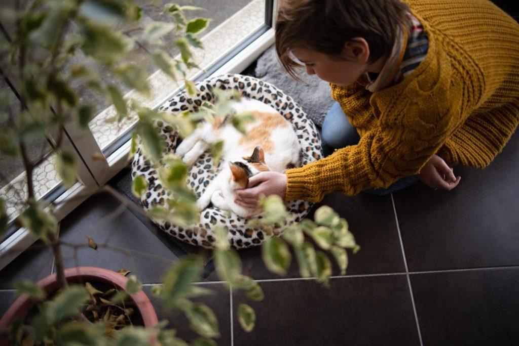 Portrait d'une jeune fille avec son chat.