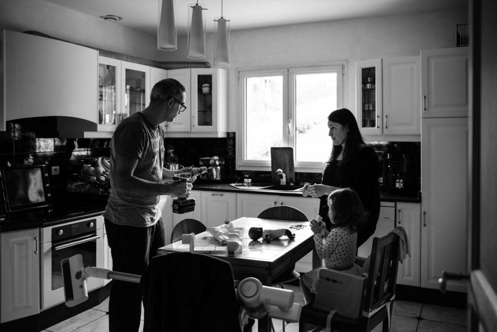 Reportage de famille. Noir et blanc.