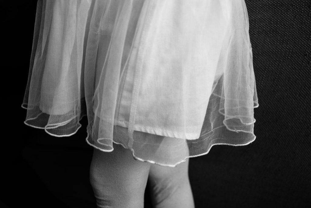 Portrait en noir et blanc. Détails.