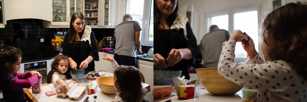 Faire un gâteau en famille. reportage photo.